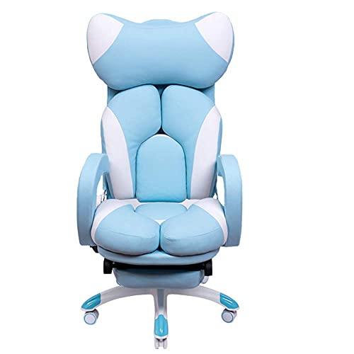 Renovation House - Silla para juegos reposapiés diseño ergonómico de princesa con silla giratoria exclusiva de cuero ajustable encantadora silla de escritorio para PC sillas para computadora (rosa