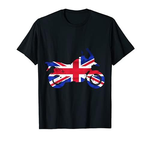 Motocicleta bandera británica aventura motorista fuera de carretera Camiseta