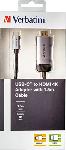 Verbatim USB-C auf HDMI 4K Adapter - Für den Anschluss von USB-C- oder Thunderbolt 3-fähigen Laptops und MacBooks, inkl. 1.5m USB-C-Kabel