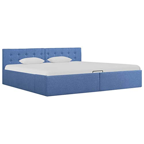 Festnight Cama canapé hidráulica con almacenaje Tela Azul 180x200 cm