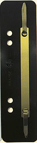 Exacompta 425001B Packung (mit 100 Einhängeheftstreifen aus PP mit Doppellochung, Deckleiste aus Metall für Dokumente Din A4, 35 x 150 mm) 100er Pack schwarz