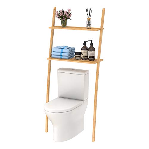Toilettenregal Waschmaschinenregal platzsparendes Badregal aus Bambus, Bad WC Regal Lagerregal mit 2...