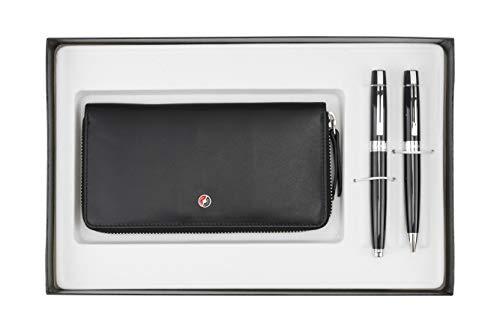 Sheaffer 300 - Penna a sfera e penna stilografica con pennino M, colore: Nero laccato