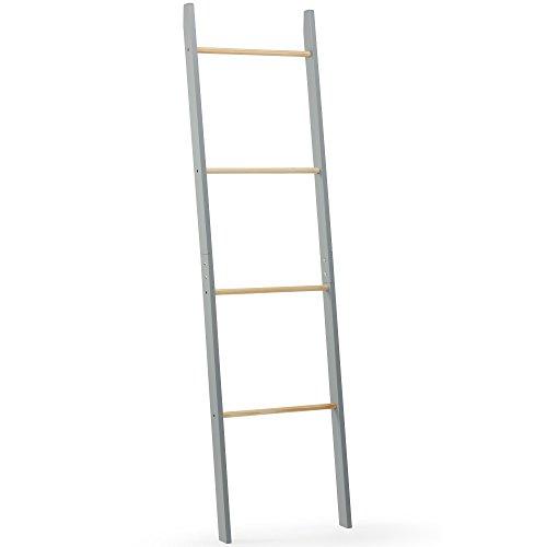 VonHaus Leiter Handtuchhalter mit 4 Sprossen – Kombination aus modernem Grau & Eschenholz