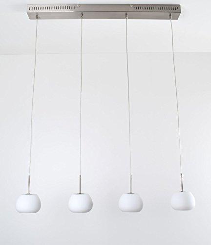 Pendelleuchte DecoMode Sarah 5296020 Hängelampe Esszimmerbeleuchtung Weiß Chrom gebürstet Glas opal G4 Höhenverstellbar 4x 20 Watt 1280 Lumen