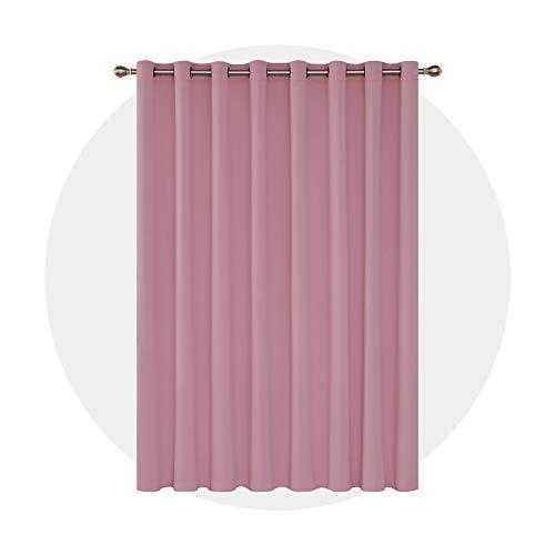 Deconovo Cortinas Salon Opacas con Aislamiento Térmico para Habitación 1 Pieza con Ojales 254 x 242 cm Rosa