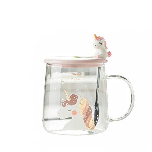 Witheeyou Coffee Mugs,Unicorn Coffee Mug Glass Tea Cup with Lovely Unicorn Spoon,Gifts for Kids, Birthday Gifts, Christmas Gifts, Tazas Personalizadas, Monogram Novelty Mug, Great Gift Idea 520ML