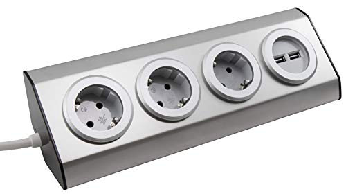 MC POWER - Steckdosenblock | PREMIUM | 3-fach Schutzkontakt-Steckdose, 2x USB, Aufbauversion, auch ideal für Eckmontage, Edelstahl und Kunststoff