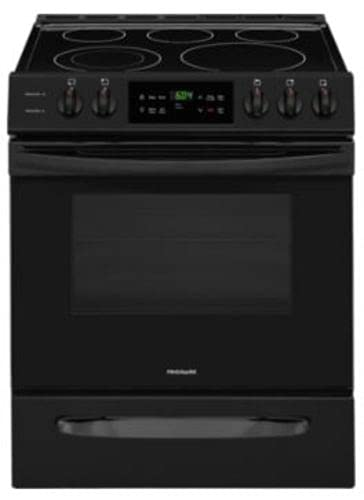 """Frigidaire FFEH3054UB 30"""" Slide-in Electric Range with 5 Elements 5 Cu. Ft. Oven Capacity Self Clean Keep Warm Zone in Black"""