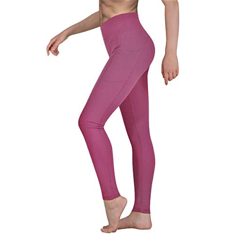 Occffy Sporthose Damen Yogahose Fitnesshose Laufhose Yoga Tights Sport Leggings für Damen mit Taschen P107 (Weiches Rosa, XL)