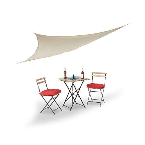 Relaxdays Voile d'ombrage triangle beige léger avec tendeurs résistant aux UV jardin terrasse balcon intérieur HxlxP: 3,5 x 3,5 x 3,5 m, beige