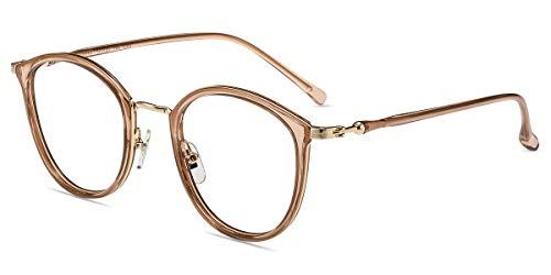 Firmoo Blaulichtfilter Brille für Computer 50er Pantobrille Retro Runde Nerdbrille ohne Sehstärke Anti Augenmüdigkeit, Anti 400UV, Anti Blaulicht Computer Gaming Brille (Braun-Pink)