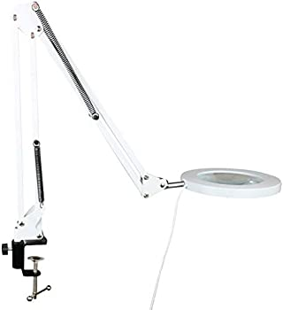 Vludiss Large Aperture LED 5X Magnifying,Extension Arm Foldable Magnifier,3-Color 5 Gear Light Source 24 inch Height for Reading Cross Stitching Knitting Crocheting Beauty Care