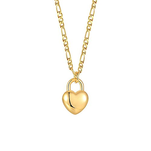PAURO Collar Mujer Acero Inoxidable Sencillo Amor Corazón Forma Linda Colgante Oro