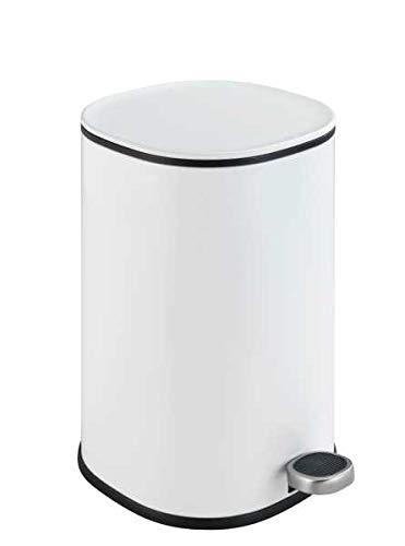 WENKO Kosmetik Treteimer Nant 5 Liter, Badezimmer-Mülleimer mit Absenkautomatik, kleiner Abfalleimer, 27,3 x 30 x 20,5 cm, Weiß matt