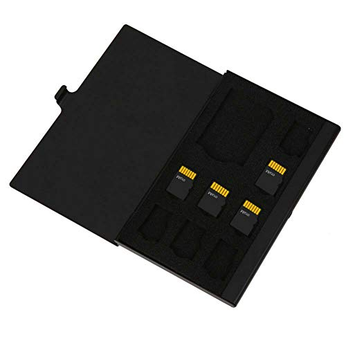 PCTC Aluminum Memory Card Case Storage Box for SD Micro SD MMC TF Card Holder Case Hold (9 Slots)