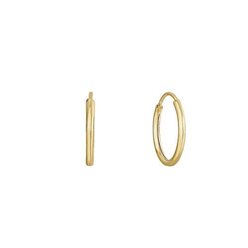 14k Yellow Gold Endless Hoop Earrings (10mm)