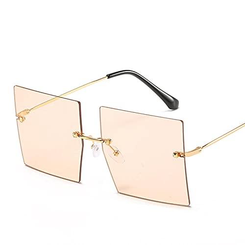 Powzz ornament Gafas de sol de gran tamaño sin montura Gafas de sol cuadradas para mujer Gafas de lujo para mujer / hombre Gafas de sol vintage-GoldTea