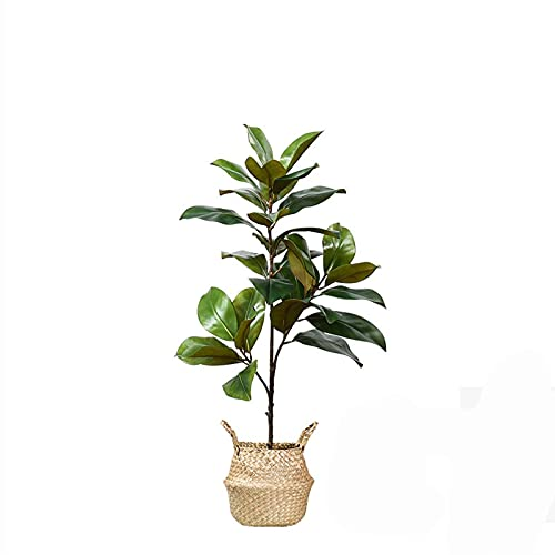 FEIYIYANG Artificial Bonsai Tree 35 Inch Gorgeous and Detailed Artificial Magnolia Tree with Handmade Straw Basket, for Window Exhibition Store Faux Green Plants Artificial Bonsai