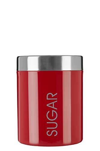 Premier Housewares Boîte à sucre en émail rouge - Pot à sucre - Boite de conservation - Dimensions (H x L x D) : 13 x 10 x 10 cm