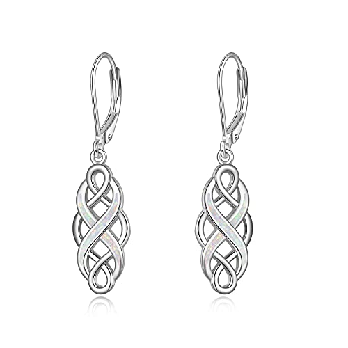 YFN Sterling Silver Celtic Knot Dangle Earrings with White Opal Good Luck Irish Celtic Knot Vintage Dangles for Women (White Opal Celtic Knot Earrings)