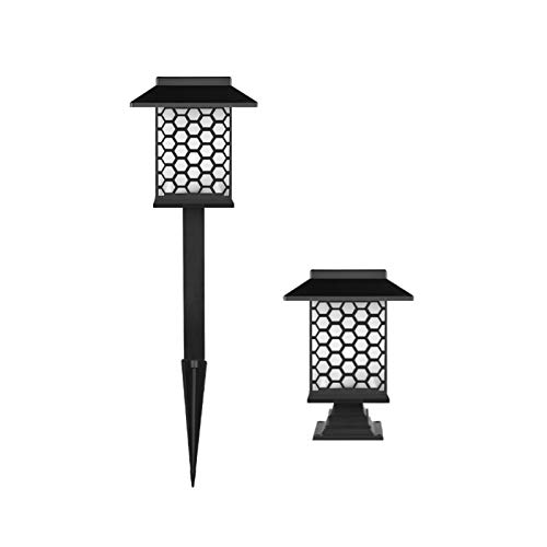 KANGLE-DERI LED Solar Outdoor Light, Creative Design,Type Lawn Light Post Lamp Dual Purpose Light, Waterproof and Durable, Safe and Energy-Saving, for Outdoor,Villa Garden, Party,Warm Light c,2pcs