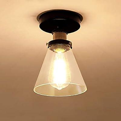 SZXYKEJI Industrial Semi Flush Mount Ceiling Light Clear Glass Pendant Lamp Shade Vintage Hanging Light Fixtures Farmhouse Lighting for Porch Hallway Kitchen Island Corridor Bedroom Bar