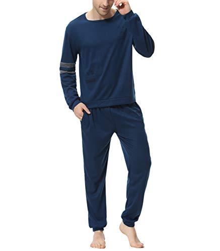 Aiboria Herren Schlafanzug Lang Zweiteiliger 100% Baumwolle Pyjama Set Langarm Nachtwäsche Hausanzug