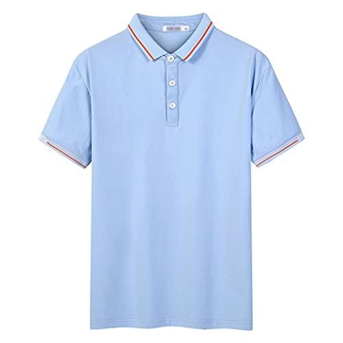 HLMSKD 男性ポロシャツ服コットンメンズビジネスカジュアルオスポロシャツ半袖通気性ソフトポロシャツ (Color : Blue, Size : 2XL code)