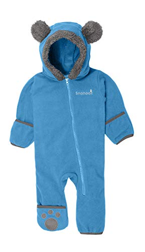 Snonook Fleece Baby Bunting Hooded Romper Bodysuit with Fold-Over Mitten and Footed Cuffs, Blue, 0/3 Months