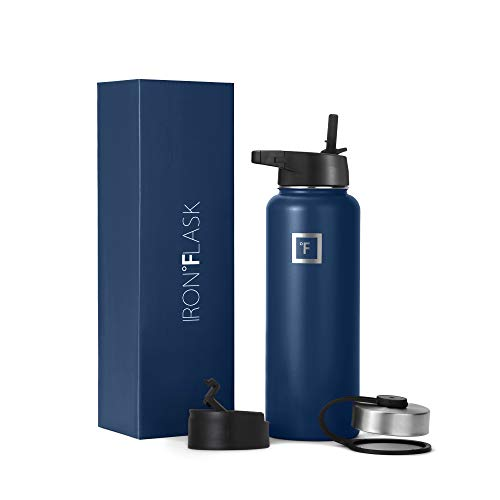 Iron Flask Sports Water Bottle - 32 Oz, 3 Lids (Straw Lid), Vacuum Insulated Stainless Steel, Hot & Cold, Wide Mouth, Double Walled, Simple Thermo Modern Travel Mug, Hydro Metal Canteen, TWI Blue