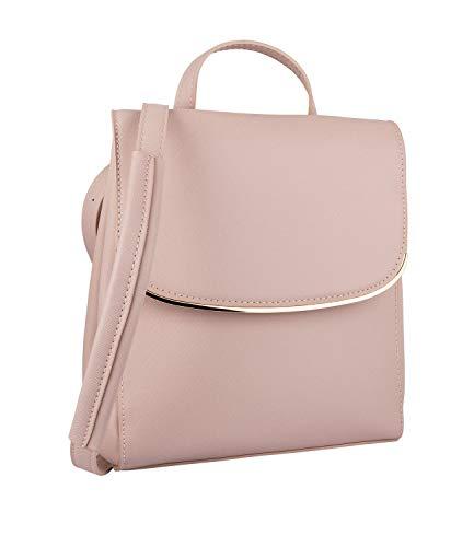 SIX Damen Rucksack, Tasche, Henkel, verstärkte Riemen, Klappe, rosa, Gold (726-556)