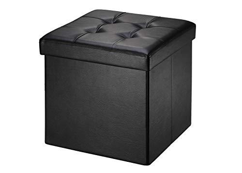 Soontrans Baúl Puff Taburete para Almacenaje Plegable Carga Máxima de 300 kg Caja de Almacenaje para Almacenaje 38 x 38 x 38 cm (Negro)