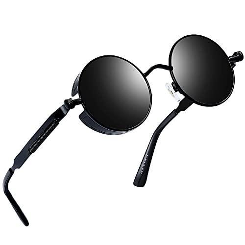 Joopin Redondas Gafas de Sol Polarizadas Retro Vintage John Lennon Círculo Metálico Hippie Steampunk para Hombres y Mujeres UV400 Negro retro