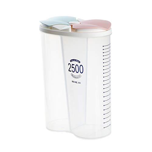 FLAMEER Luftdichte Lagerung von Lebensmitteln Container mit Einfach Schloss, Trockenen Lebensmittel Lagerung Klar Durable Kunststoff Box - 2 Grid 2500ml