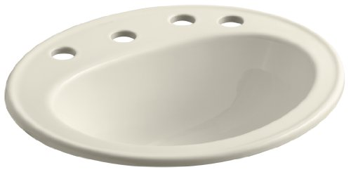"KOHLER K-2196-8R-47 Pennington Self-Rimming Bathroom Sink with 8"" Centers and Right-Hand Soap/Lotion Dispenser Hole Drilling, Almond"