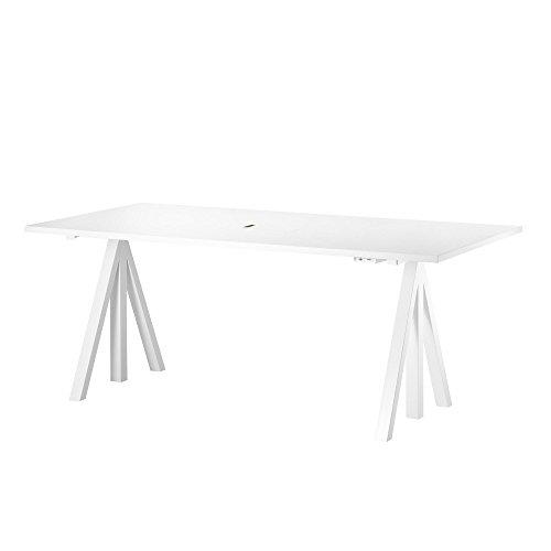 String Works Desk Schreibtisch 160x78cm, Laminat weiß Gestell weiß inklusive Schublade BxHxT 160x118.5x78cm elektrisch höhenverstellbar 71.5-118.5cm