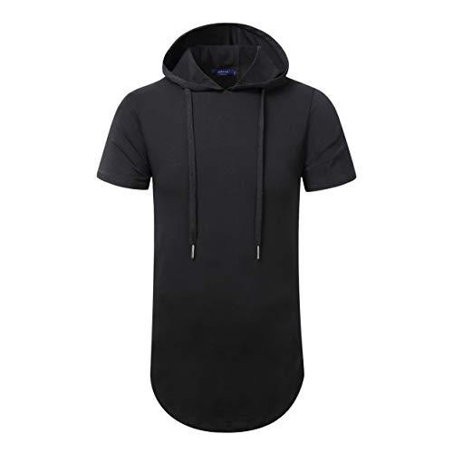 Aiyino Men's Hipster Hip Hop Short/Long Sleeve Longline Pullover Hoodies Side Zipper T Shirt