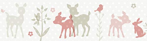 lovely label, cenefa autoadhesiva, 450 x 11.5 cm, diseño de animales con corcino, rosa-beige