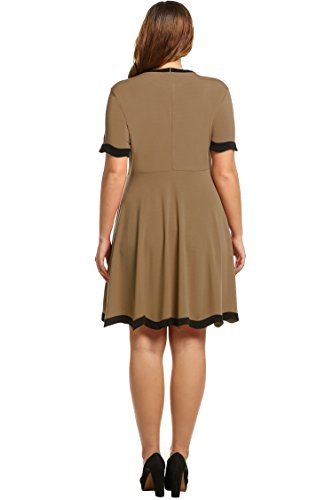 Meaneor-Women-Casual-Short-Sleeve-Patchwork-O-Neck-Pullover-Flare-Dress