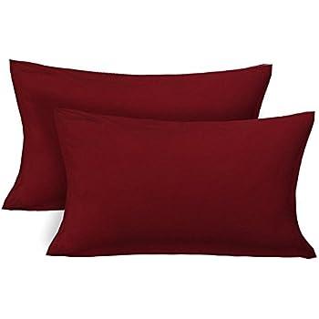 Jaipur Linen Set of 2 Classic Plain 100% Cotton 300 TC Pillow Cover, 20 Inch x 36 Inch-Maroon