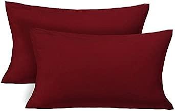 Jaipur Linen Set of 2 Classic Plain 100% Cotton 300 TC Pillow Cover 16X24 -Maroon