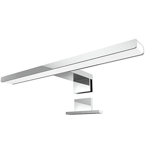LED Spiegelleuchte LEVA 2-in-1 Aufbauleuchte oder Klemmleuchte 30cm 5W in chrom, IP44, warmweiß 2700K - für Möbel, Spiegel und Bad