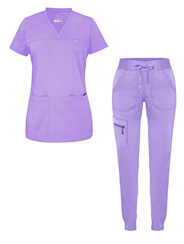 Adar Pro Movement Booster Scrub Set for Women - Sweetheart V-Neck Scrub Top & Yoga Jogger Scrub Pants - P9400 - Lavender - S