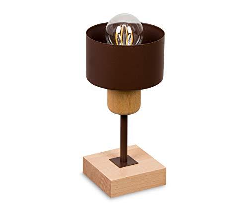 Braune Nachttischlampe Tischlampe HausLeuchten TI-BR10x10BU aus Holz Lampe Schlafzimmer Leuchte (Braun)