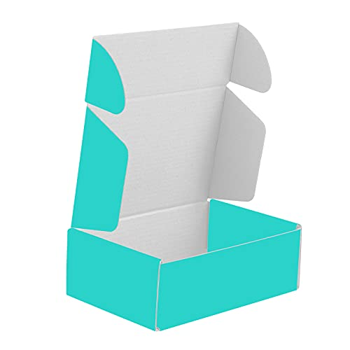 50 Pack 6x4x2 Inch Shipping Boxes, Corrugated Cardboard Mailing Box for Small Business and Gift - Anreak (Teal)