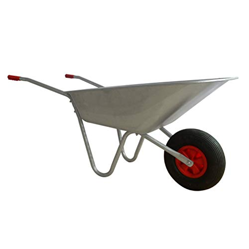 Heavy Duty Wheelbarrow 65L Galvanised Metal Cart and Pneumatic Tyre Garden DIY by CRYSTALS®
