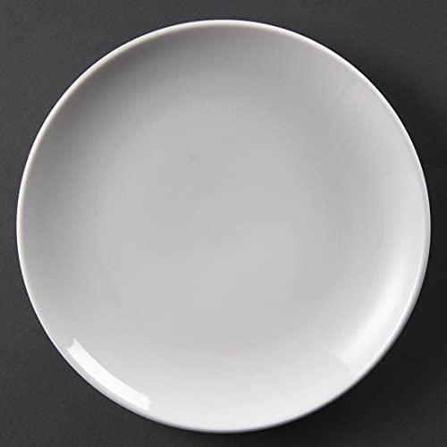 Olympia Whiteware Assiettes Coupe Rondes en Porcelaine Blanche 230mm - Empilable et Résistant au Lave Vaisselle - Paquet de 12
