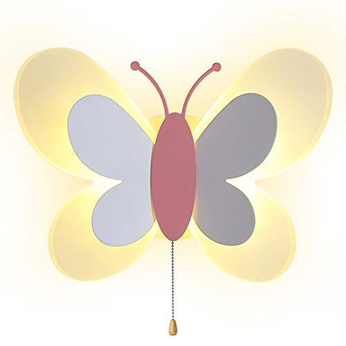 AKBOY Kinderzimmer Wandleuchte Schmetterling Wandlampe mit Kabel Schalter Junge Mdchen Raumlampe Dekorative LED 14W Innen Cartoon Schlafzimmer Nachttischlampe Acryl Trikolore Dimmbar Wandbeleuchtung