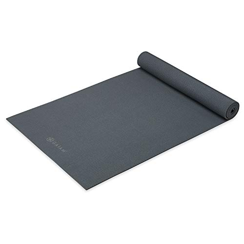 Gaiam Yoga Mat - Premium 5mm Thick Exercise & Fitness Mat for All Types of Yoga, Pilates & Floor Exercises, Folkstone Grey, 5mm